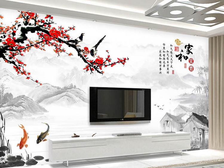 家和富贵梅花喜鹊山水中式电视背景墙