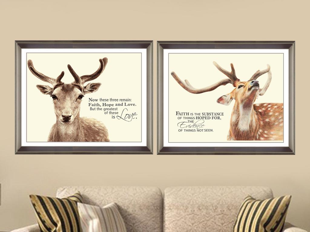 北欧装饰画鹿头彩铅画