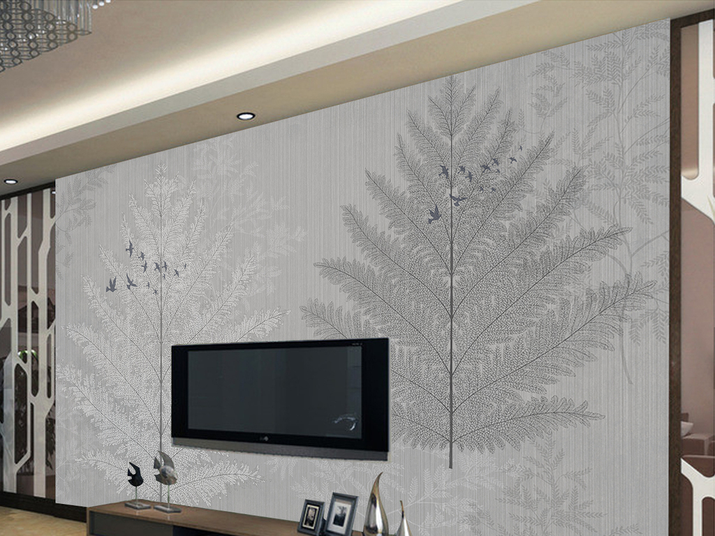 现代简约抽象树木唯美时尚壁画电视背景墙图片