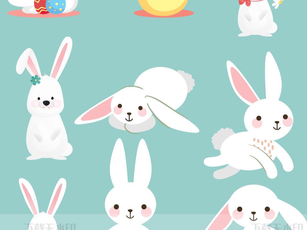 手绘卡通兔子矢量素材