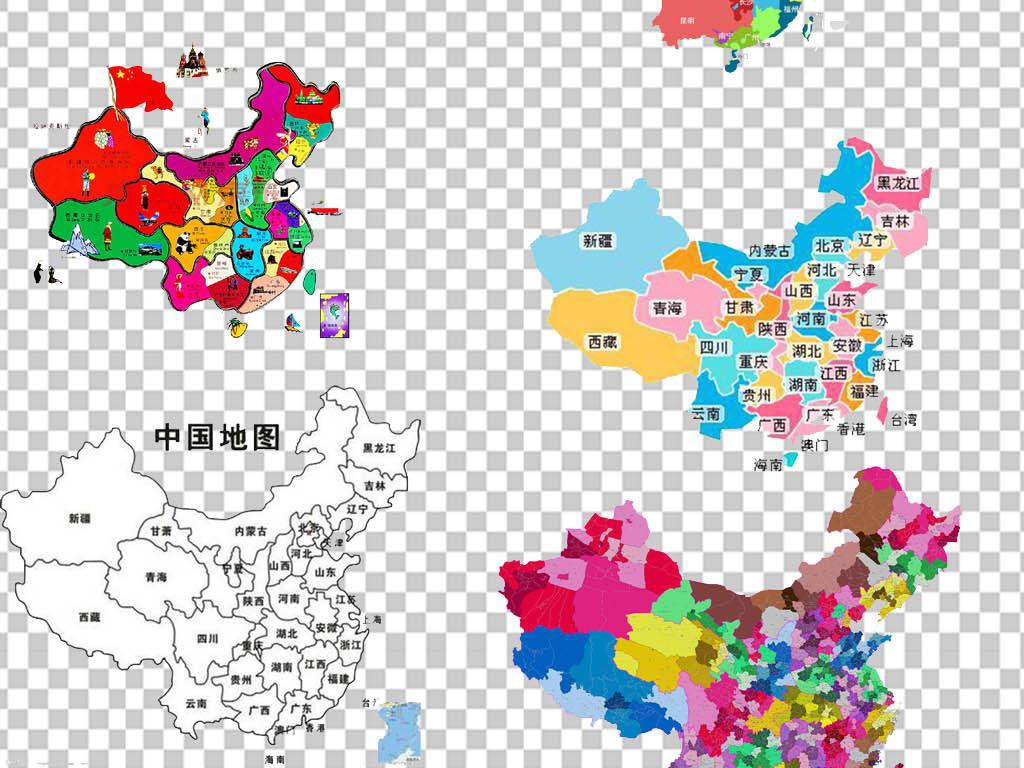 中国省份创意手绘