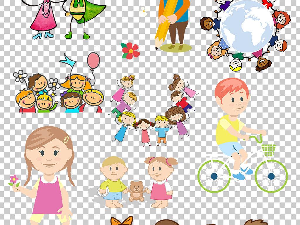 设计矢量儿童矢量手绘儿童手拉手