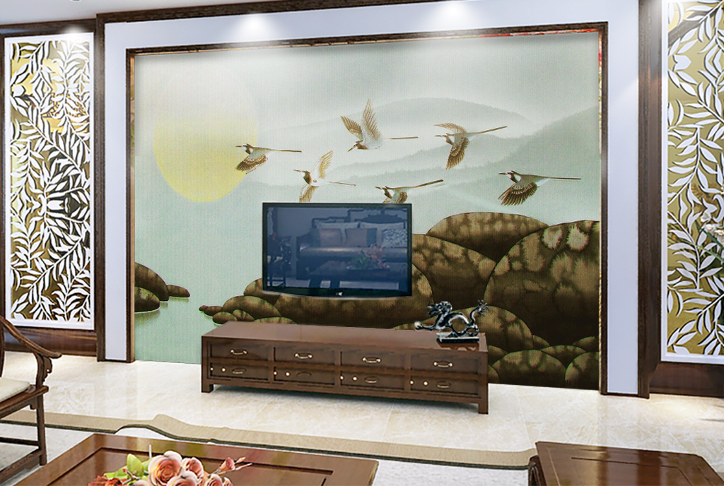 新中式简约水墨山水电视沙发背景墙图片