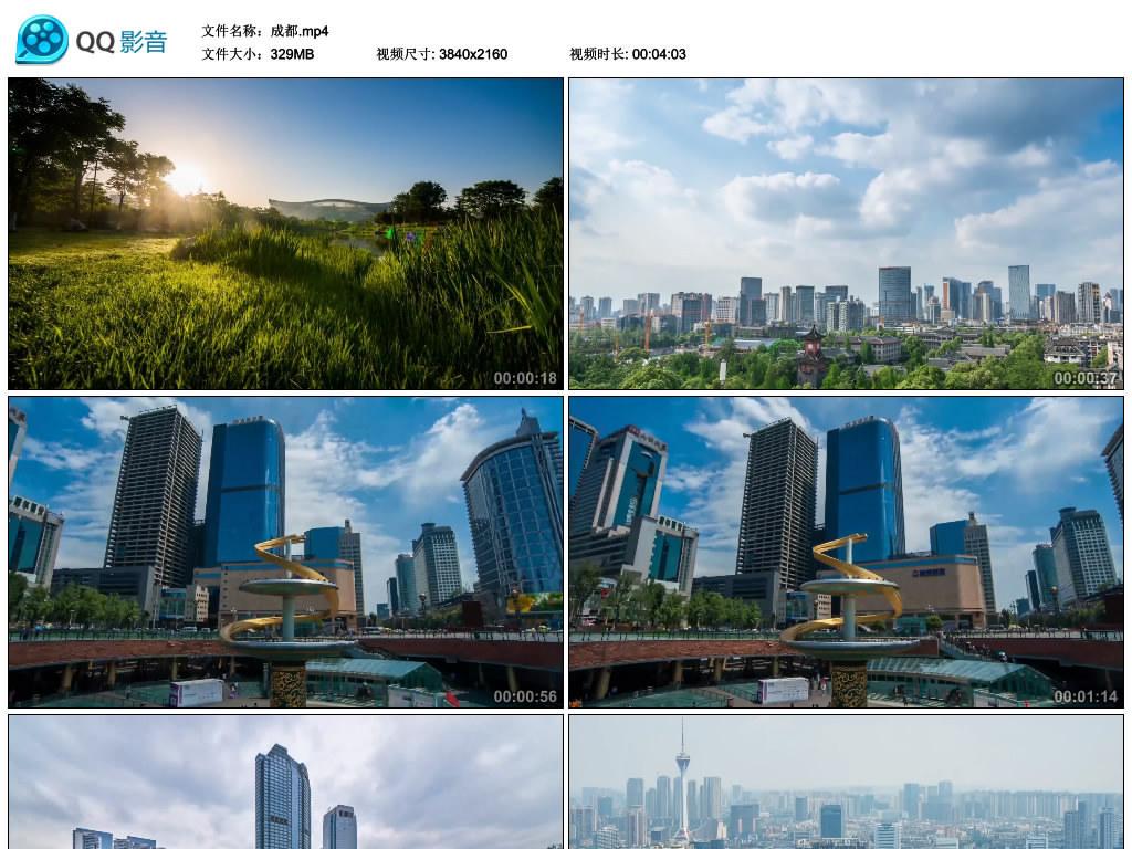 四川成都城市风光标志建筑航拍4k超清视频