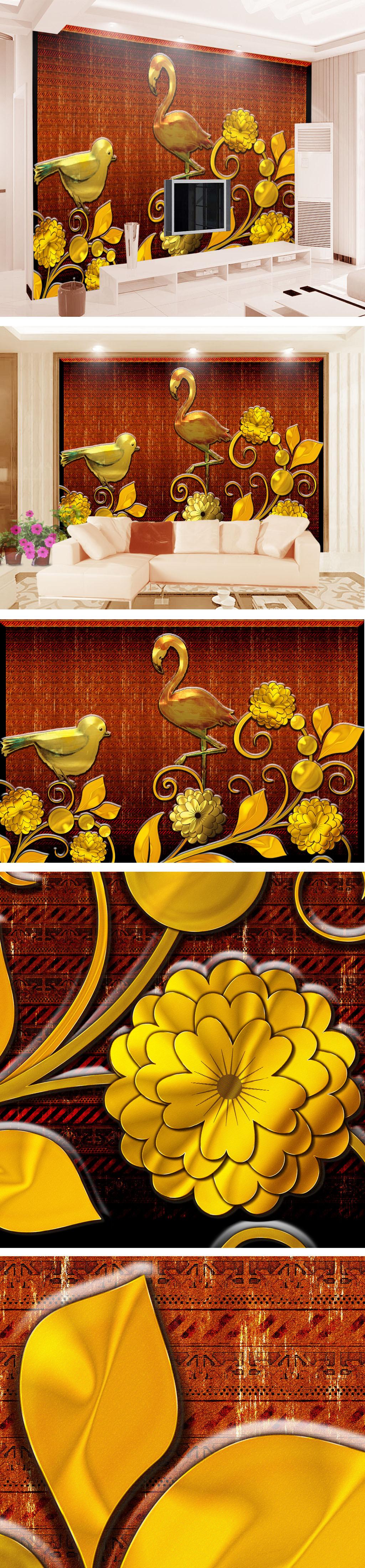 欧式大气金黄色手绘花鸟浮雕立体客厅.