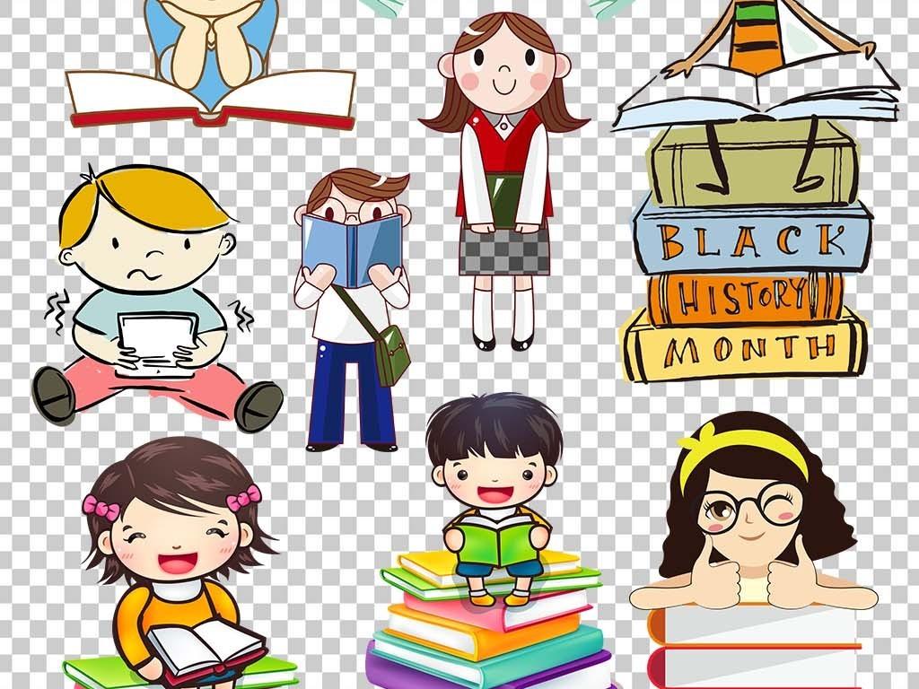 卡通小学生读书png海报素材
