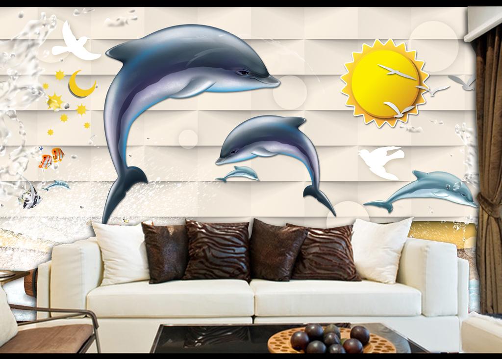 3d海豚唯美卡通儿童房背景墙壁画