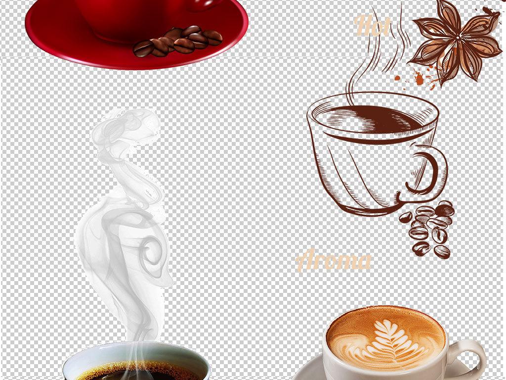 手绘喝咖啡咖啡豆咖啡杯图片png素材