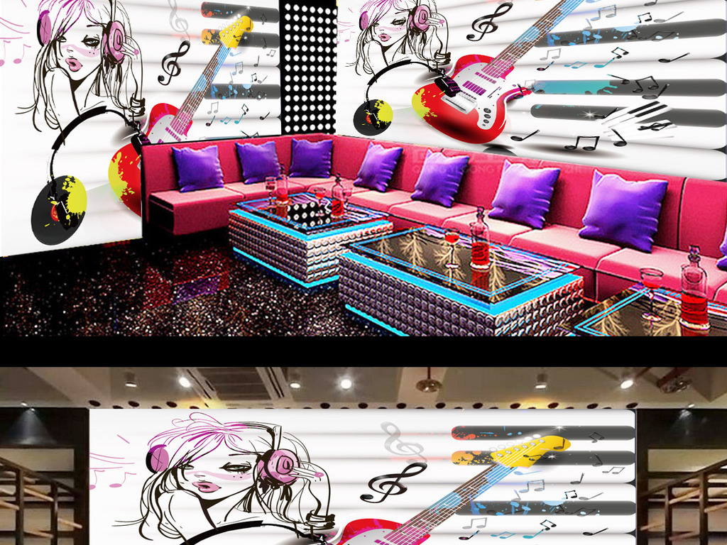 ktv手绘涂鸦音乐背景墙图片设计素材_高清ai模板下载