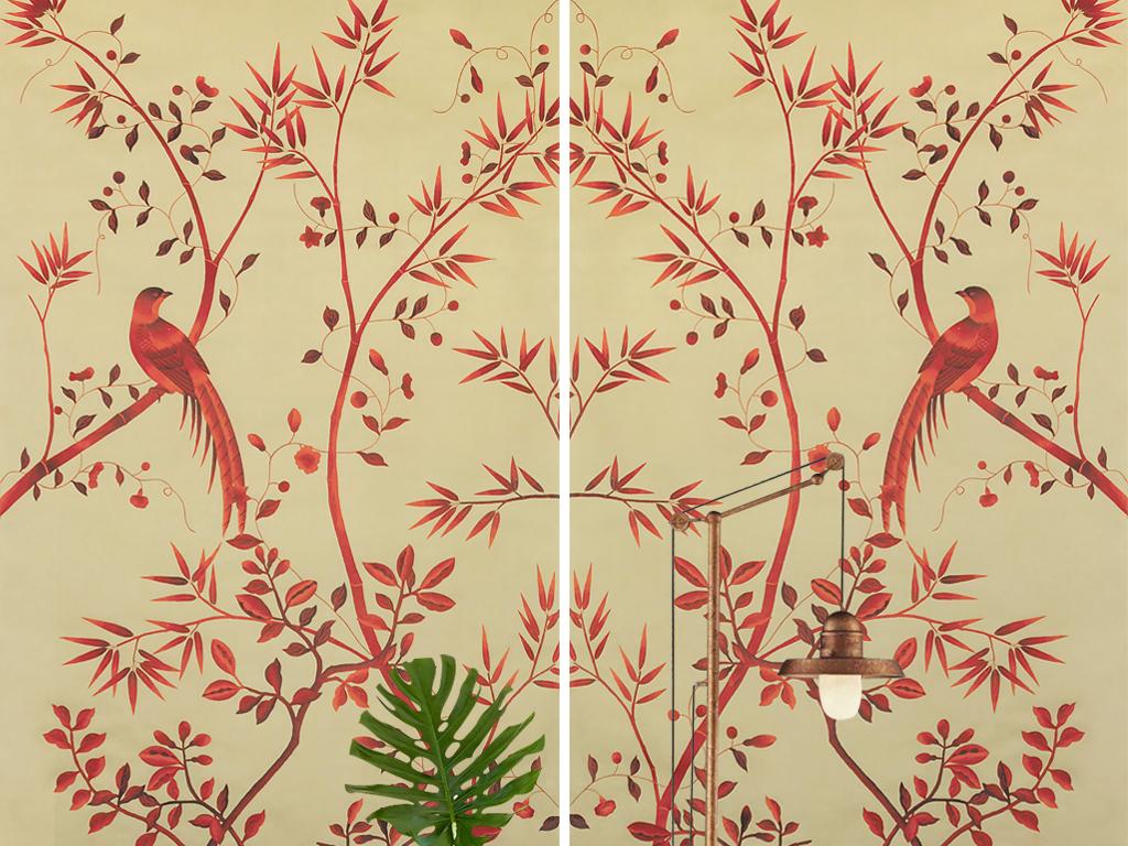 复古怀旧新中式手绘花鸟竹子玄关壁画背景墙
