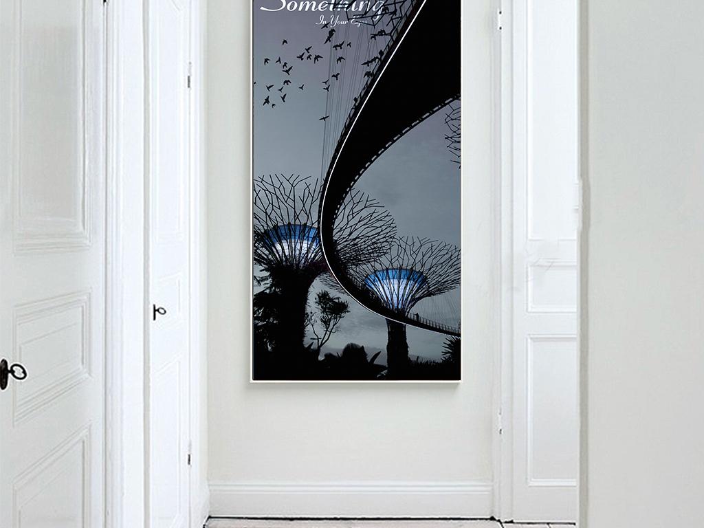 背景墙|装饰画 无框画 植物花卉无框画 > 北欧创意手绘黑白天桥路灯装