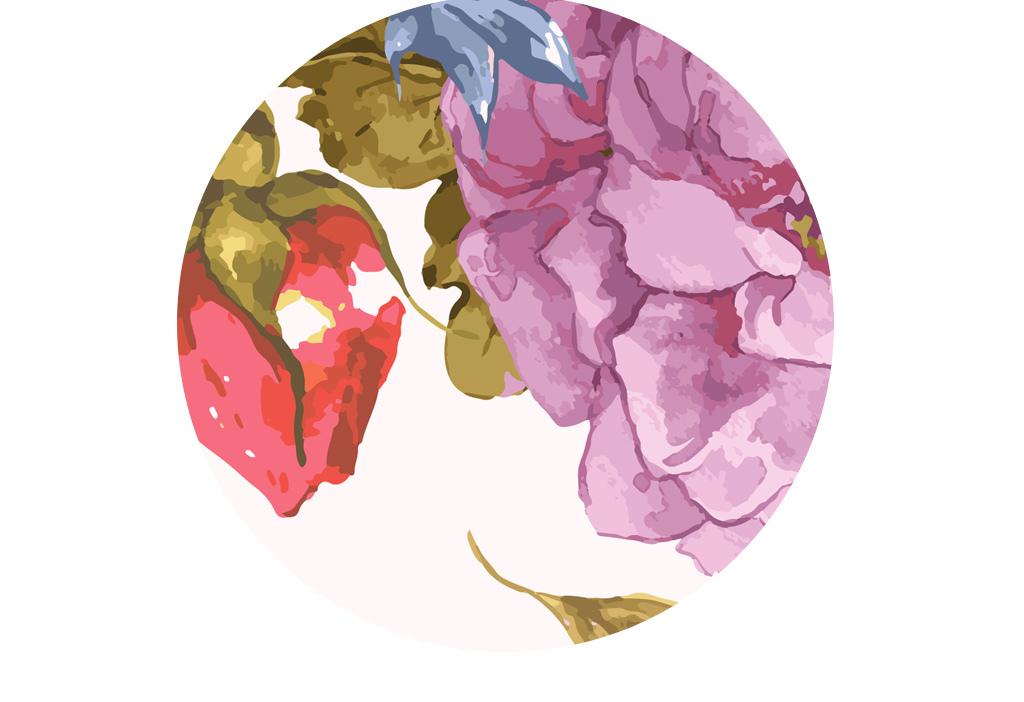 北欧唯美手绘水彩花卉背景墙壁画
