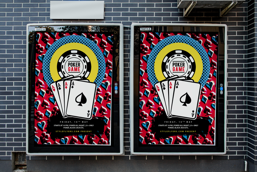 时尚手绘扑克牌之夜创意海报