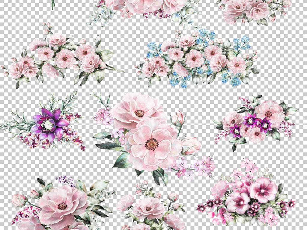 手绘水彩花卉鸟花束叶子png免扣图片请帖
