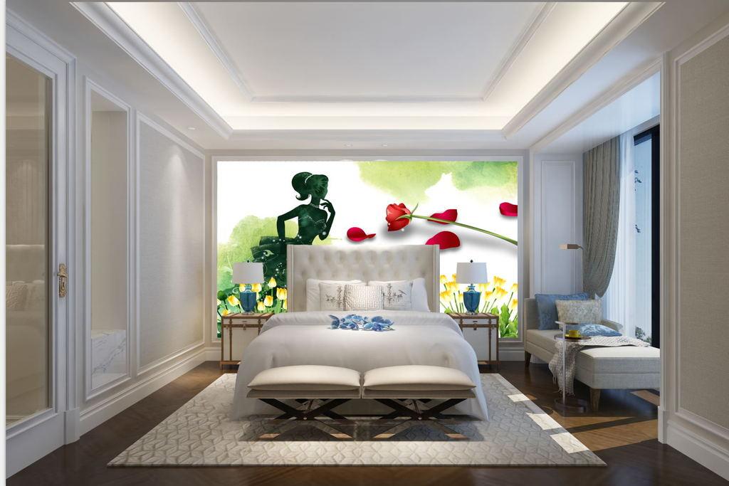 卧室背景墙家手绘人物美景
