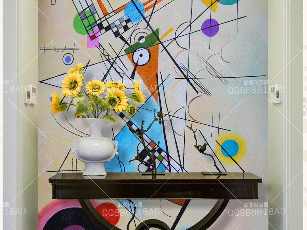 抽象几何高清装饰纯手绘艺术油画玄关
