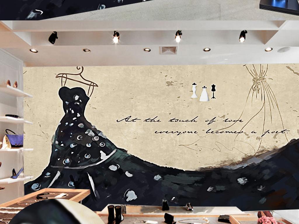 复古手绘黑天鹅婚纱服装店工装背景墙
