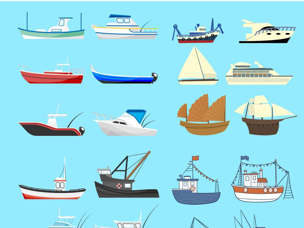 手绘线描船矢量集合