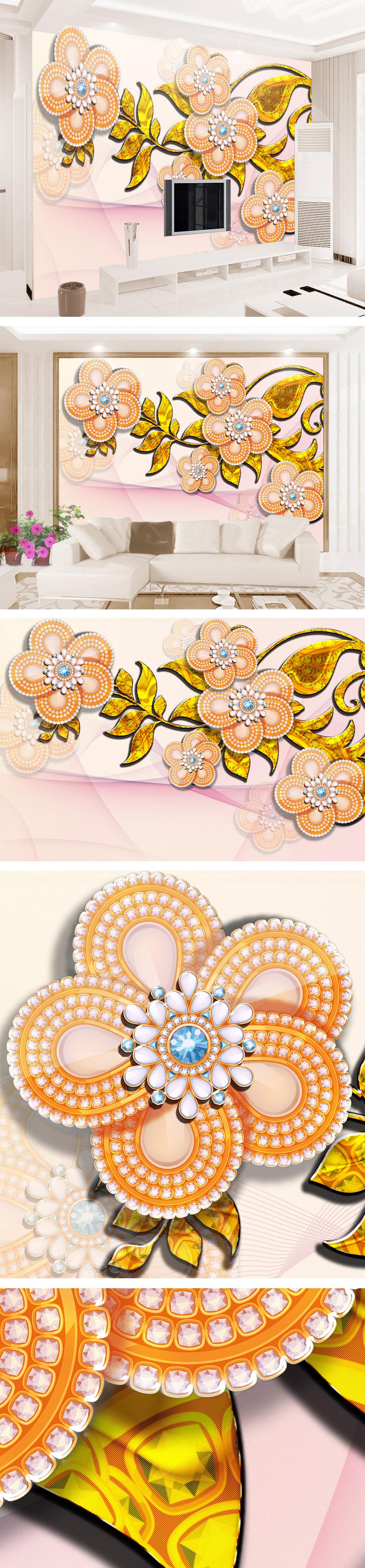 简欧清新手绘珠宝花客厅电视背景墙壁.
