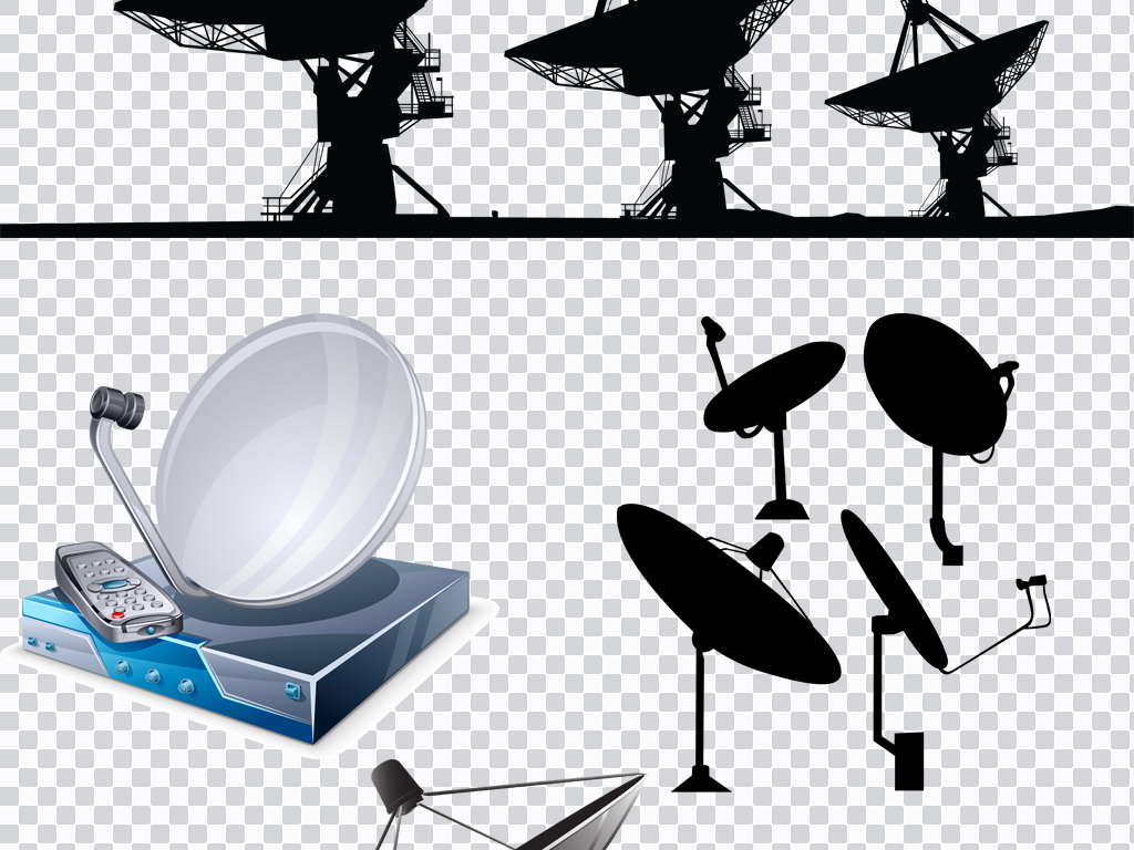 eps png扁平化手绘卫星天线元素设计素材