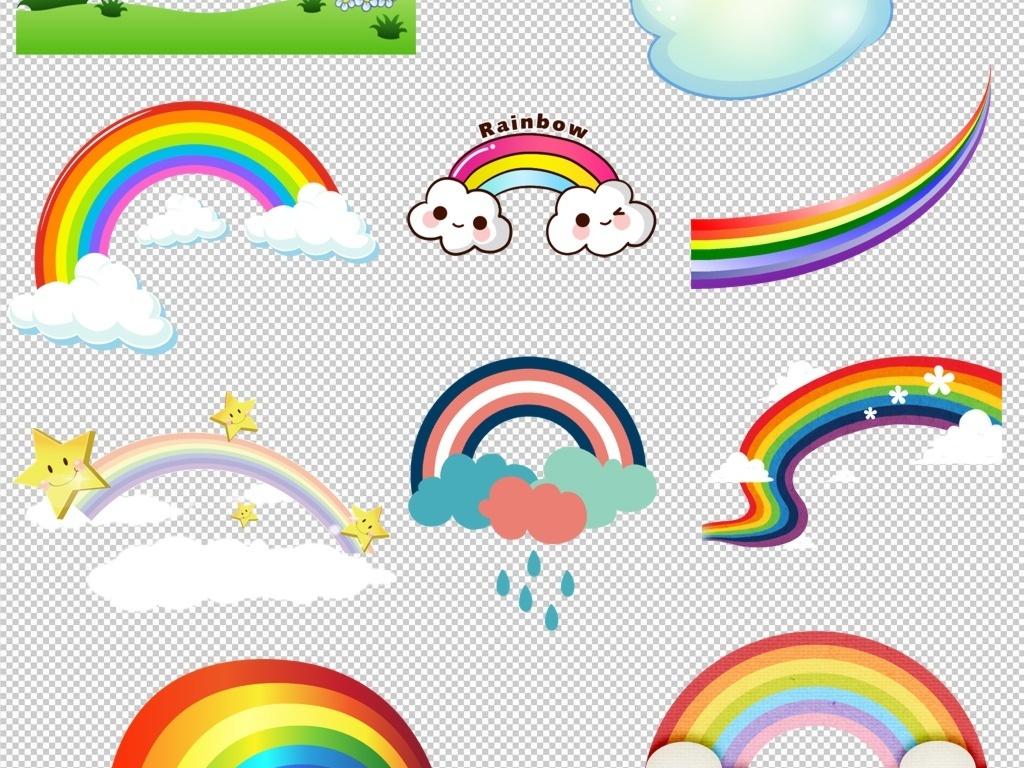 七彩彩虹彩虹泡泡框手绘卡通彩虹