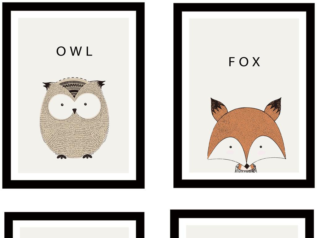 小动物装饰画