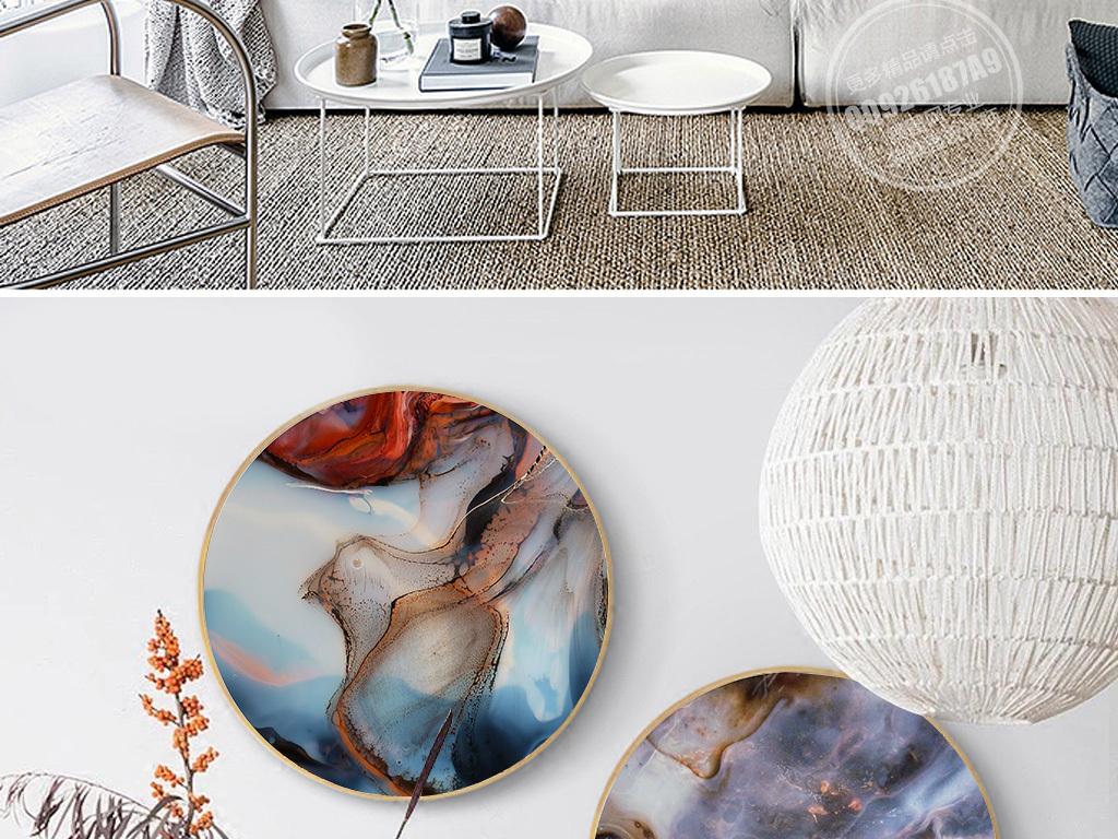 纯手绘液态流抽象艺术装饰画圆框画