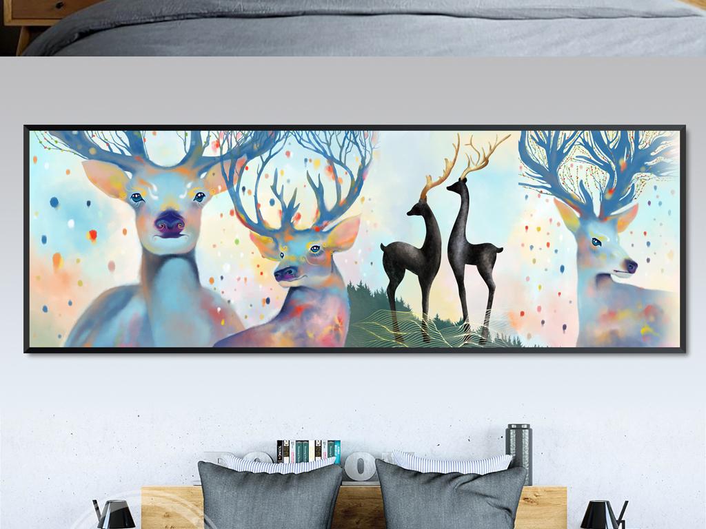 原创超高清手绘北欧风梦幻森林鹿床头装饰画