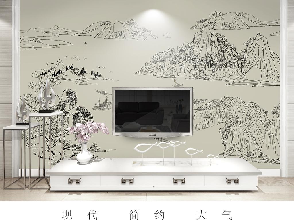 新中式手绘线描山水禅境壁画中式背景墙