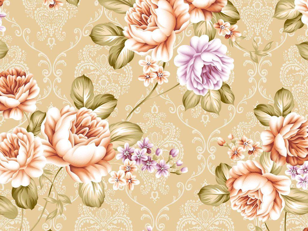 手绘欧式花卉印花图案素材图片