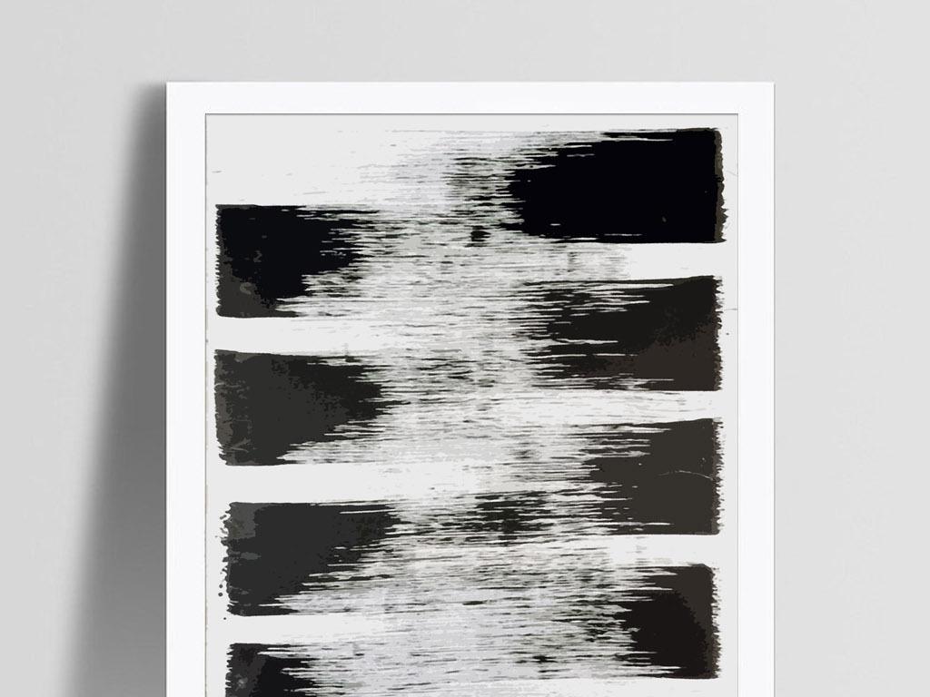 黑白水墨简约新中式意境笔刷手绘抽象装饰画