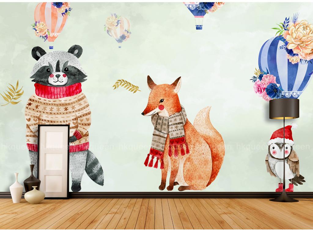 北欧简约手绘卡通小动物热气球儿童房背景墙
