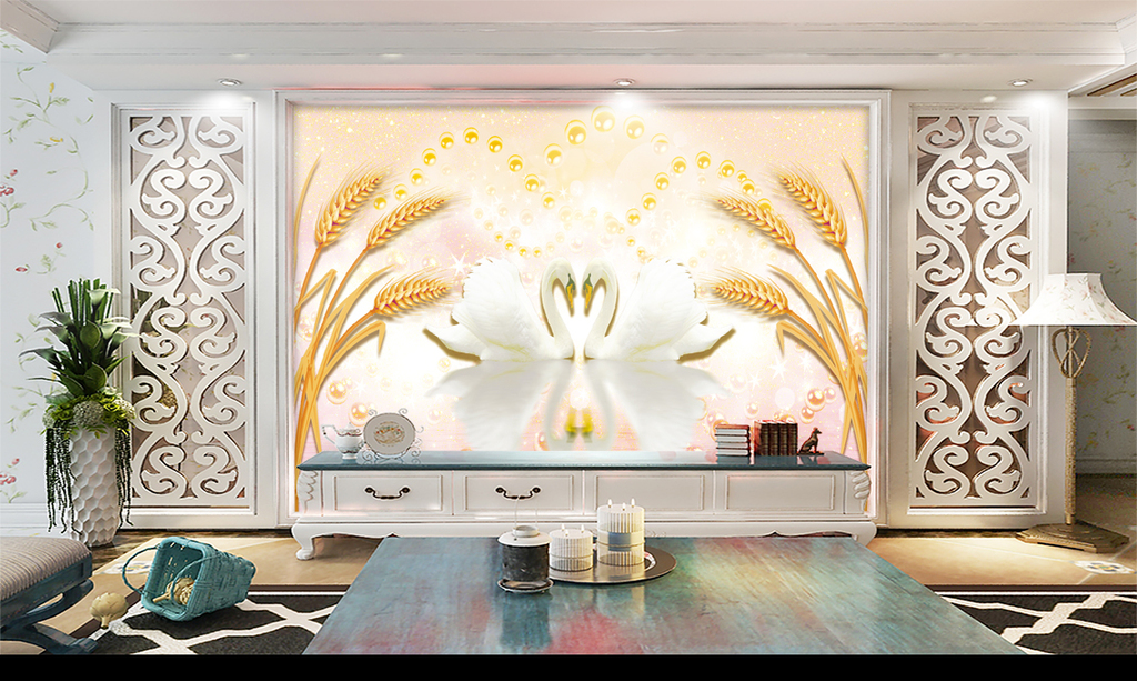 新中式珠宝麦穗天鹅背景墙图片