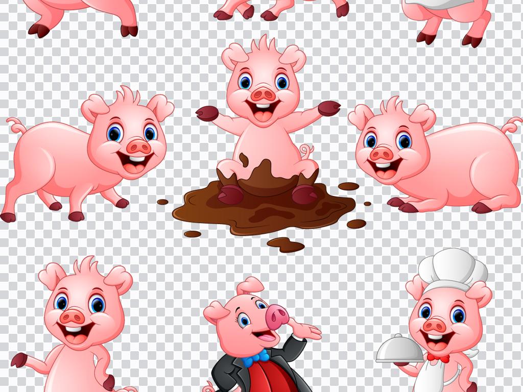 设计元素 自然素材 动物 > ai png非常可爱卡通萌萌哒小猪猪设计素材