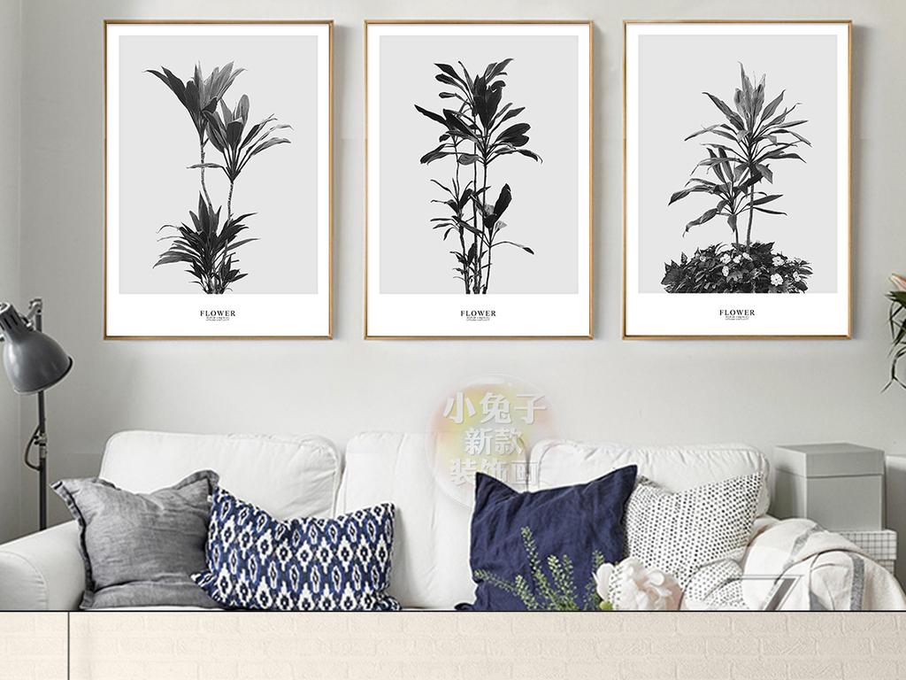 现代创意黑白千年木植物盆栽装饰画