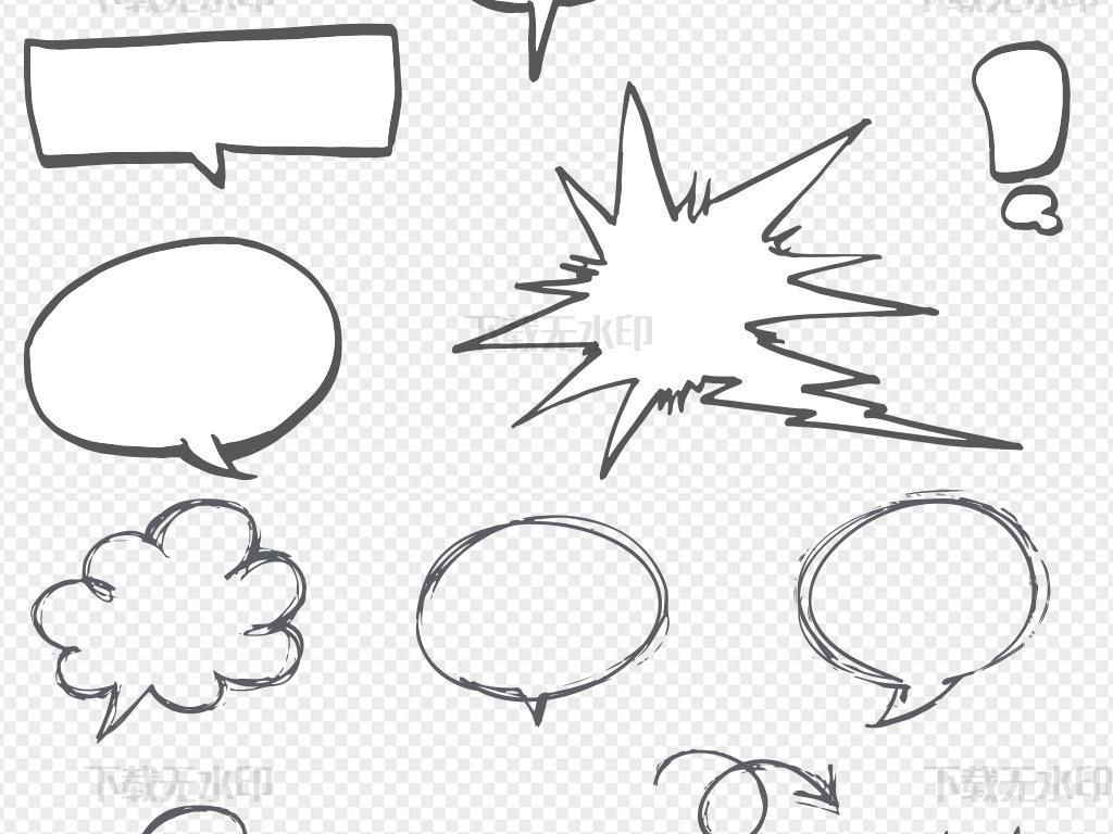 手绘漫画风格对话框矢量素材