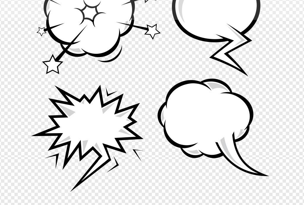 免抠元素 生活工作 居家物品 > 手绘漫画风格对话框矢量素材  素材