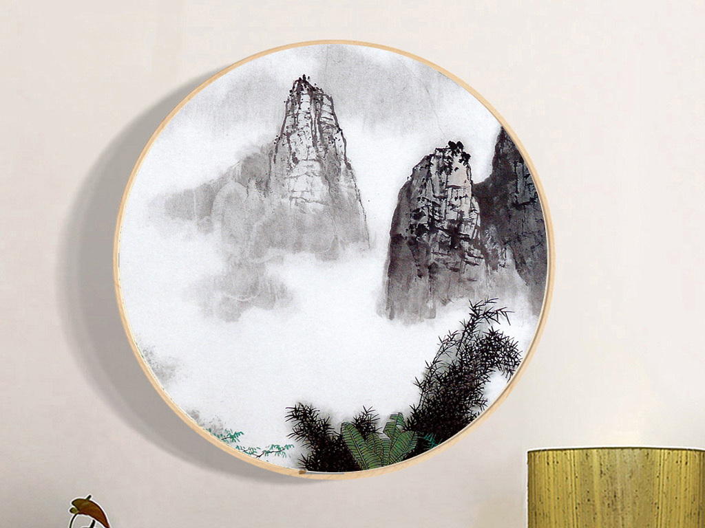 新中式装饰画简约水墨禅意山水无框画图片