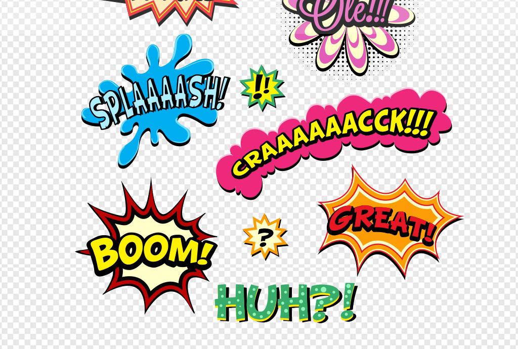 手绘漫画爆炸对话框矢量素材