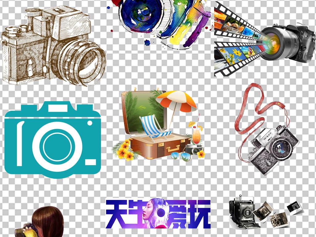 旅游摄影卡通相机毕业季海报png素材