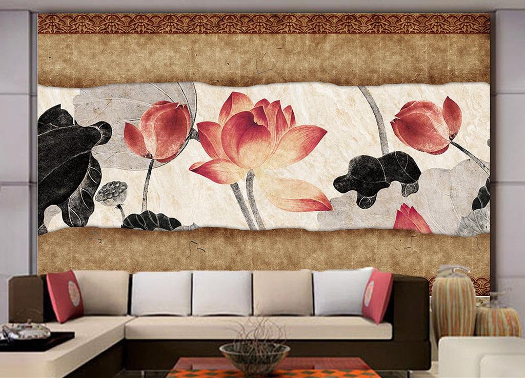 中式怀旧古典韵味意境手绘荷花莲花背景墙