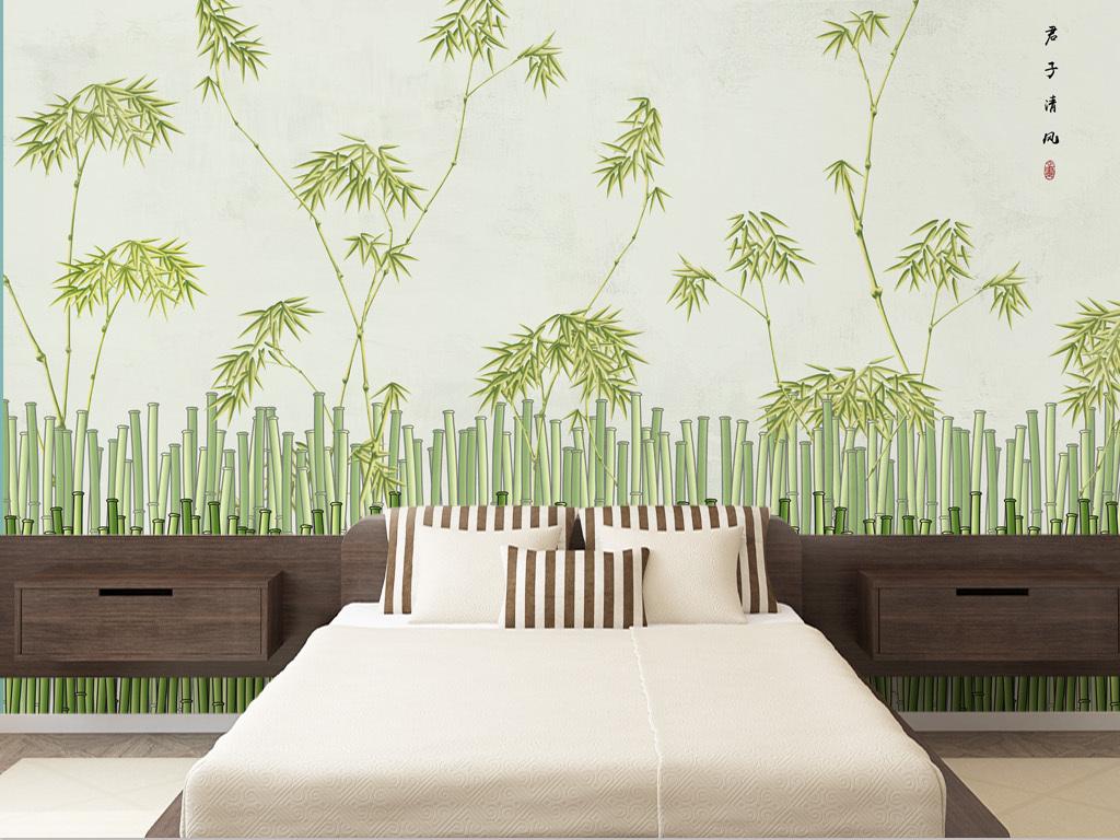 新中式手绘文雅竹林背景墙