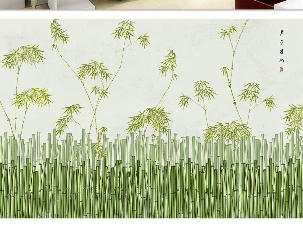 背景墙|装饰画 电视背景墙 中式电视背景墙 > 新中式手绘文雅竹林背景