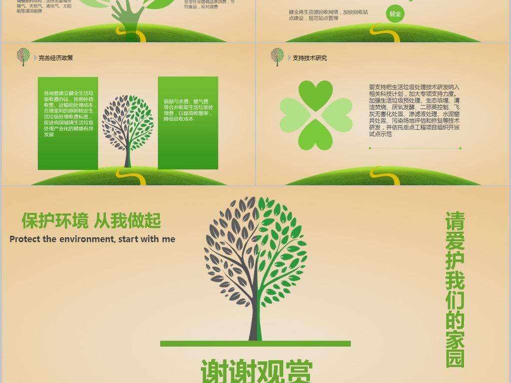 环境日城市校园垃圾分类主题宣传PPT模板