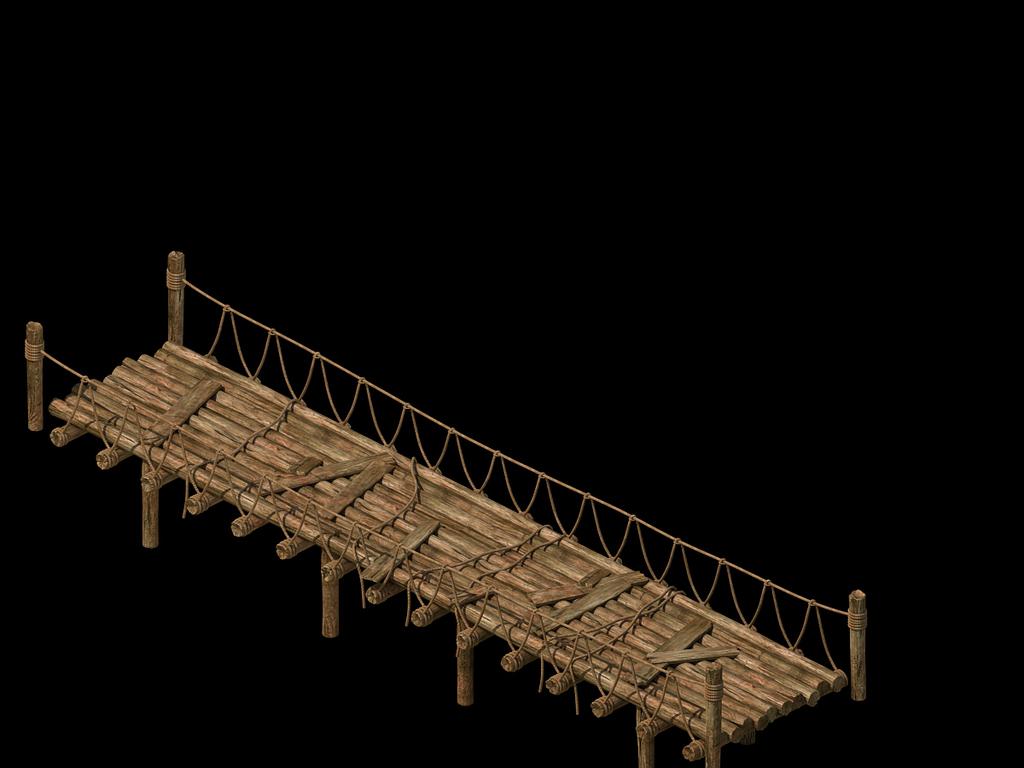 3d绳索桥木板桥小桥模型
