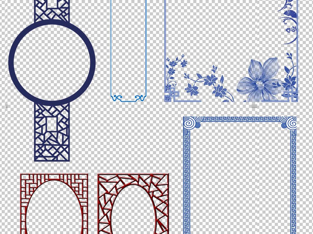 中式底纹窗花红色边框花边边框青花瓷圆形边框卷轴边框素材中国中国风