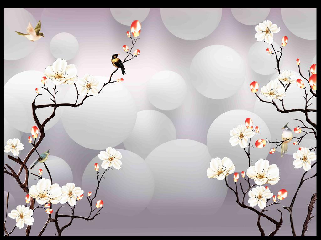 原创手绘花鸟3D背景墙