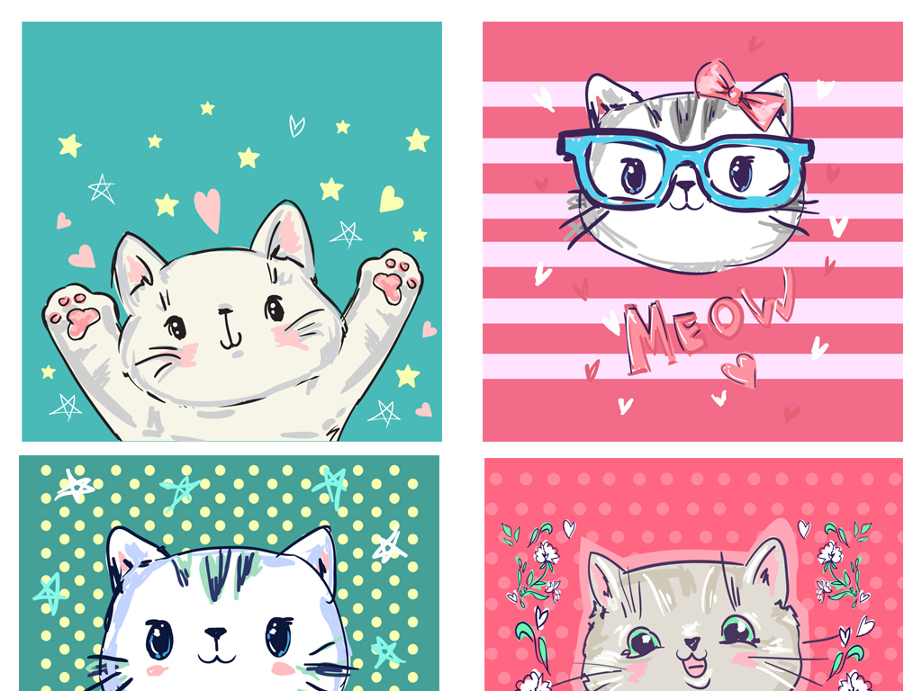 儿童画手绘插画小猫咪矢量猫猫咪