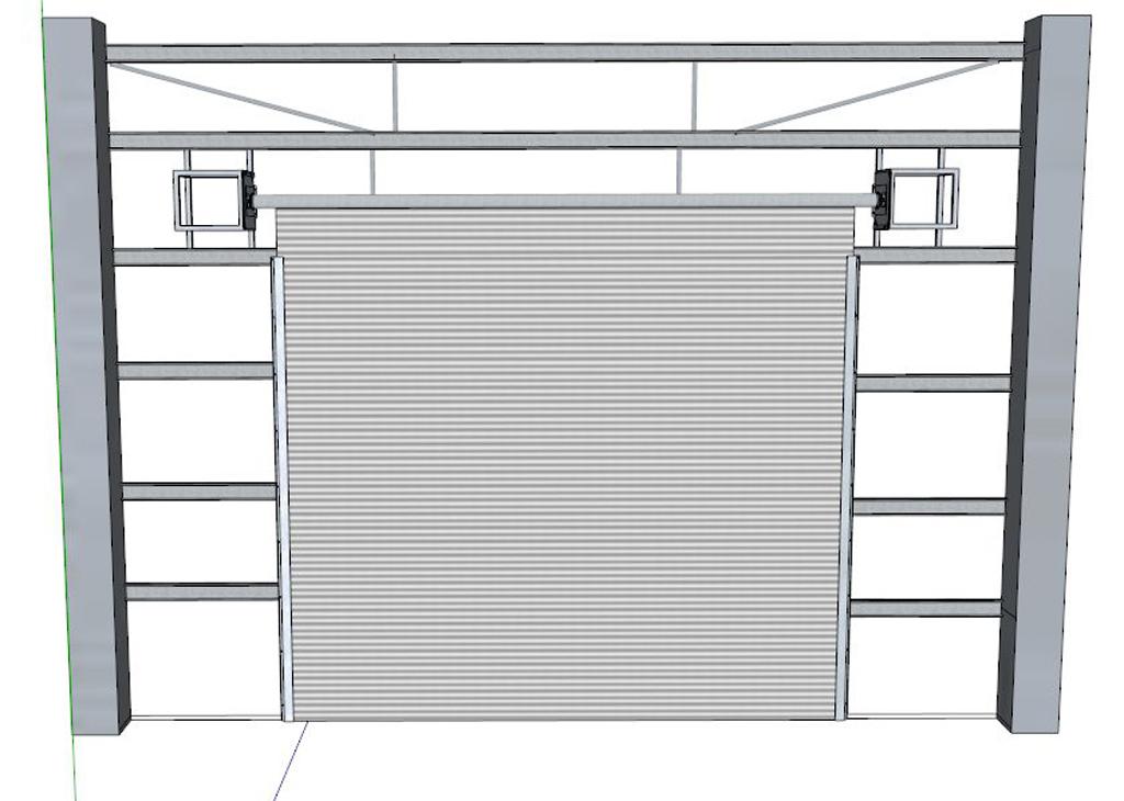 钢结构厂房电动卷帘门模型设计
