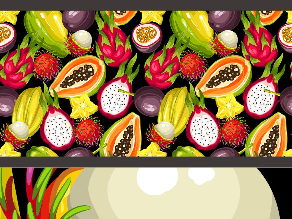 高清巨幅手绘逼真水果拼接背景墙壁纸墙纸
